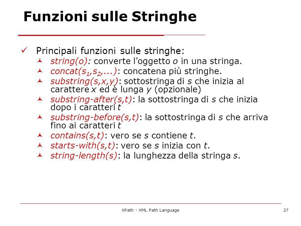 XPath - XML Path Language27 Funzioni sulle Stringhe Principali funzioni sulle stringhe: string(o): converte loggetto o in una stringa.