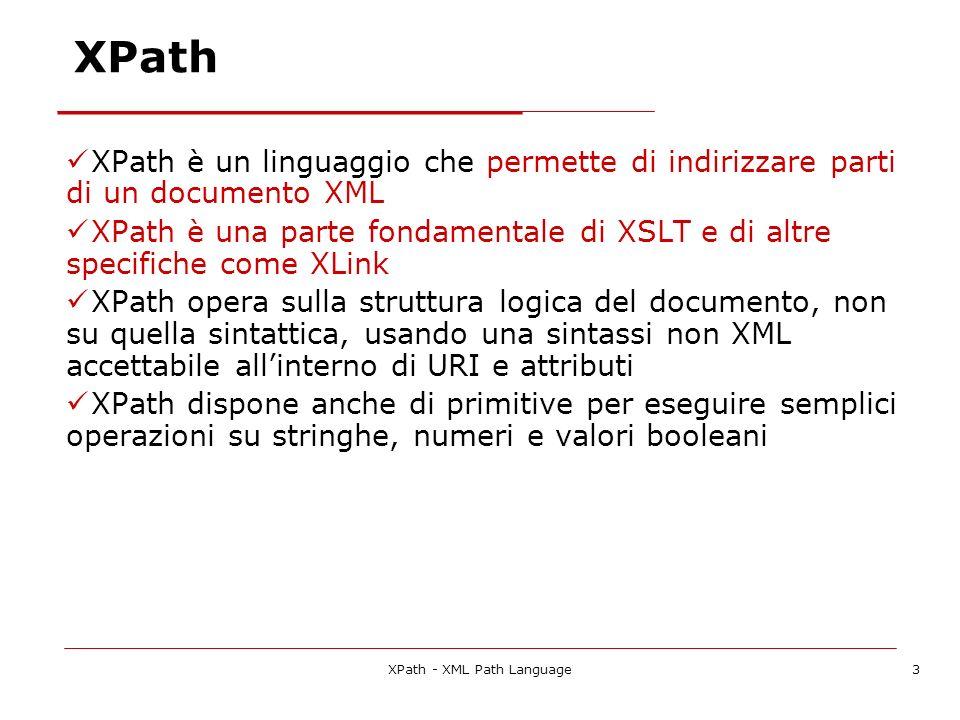 XPath - XML Path Language3 XPath XPath è un linguaggio che permette di indirizzare parti di un documento XML XPath è una parte fondamentale di XSLT e di altre specifiche come XLink XPath opera sulla struttura logica del documento, non su quella sintattica, usando una sintassi non XML accettabile allinterno di URI e attributi XPath dispone anche di primitive per eseguire semplici operazioni su stringhe, numeri e valori booleani