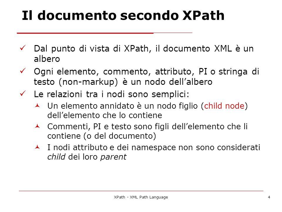 XPath - XML Path Language4 Il documento secondo XPath Dal punto di vista di XPath, il documento XML è un albero Ogni elemento, commento, attributo, PI o stringa di testo (non-markup) è un nodo dellalbero Le relazioni tra i nodi sono semplici: Un elemento annidato è un nodo figlio (child node) dellelemento che lo contiene Commenti, PI e testo sono figli dellelemento che li contiene (o del documento) I nodi attributo e dei namespace non sono considerati child dei loro parent