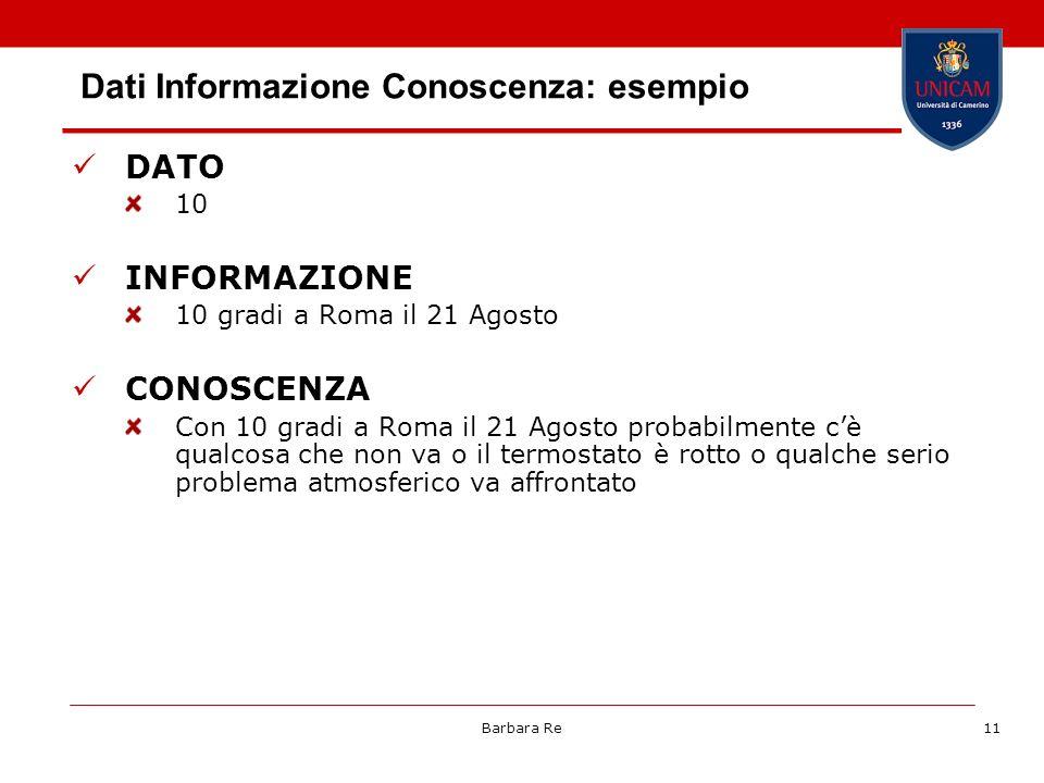 Barbara Re11 Dati Informazione Conoscenza: esempio DATO 10 INFORMAZIONE 10 gradi a Roma il 21 Agosto CONOSCENZA Con 10 gradi a Roma il 21 Agosto proba
