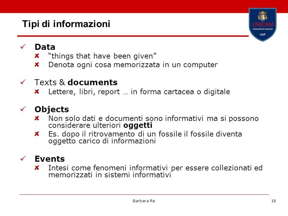 Barbara Re18 Tipi di informazioni Data things that have been given Denota ogni cosa memorizzata in un computer Texts & documents Lettere, libri, repor