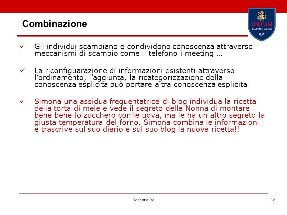 Barbara Re32 Combinazione Gli individui scambiano e condividono conoscenza attraverso meccanismi di scambio come il telefono i meeting … La riconfigua