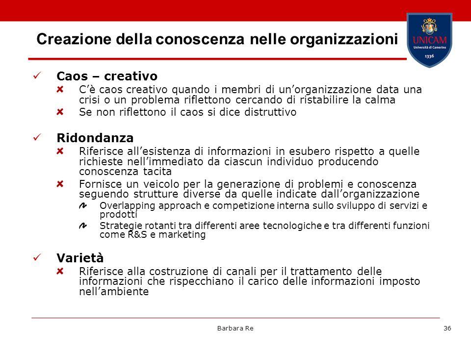 Barbara Re36 Creazione della conoscenza nelle organizzazioni Caos – creativo Cè caos creativo quando i membri di unorganizzazione data una crisi o un