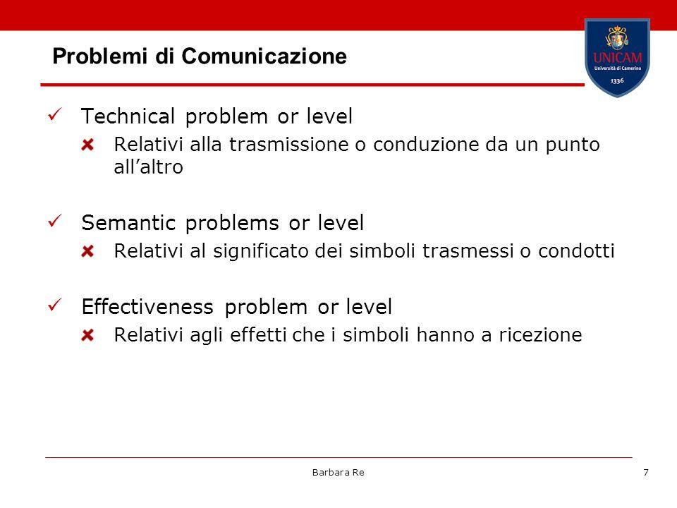 Barbara Re7 Problemi di Comunicazione Technical problem or level Relativi alla trasmissione o conduzione da un punto allaltro Semantic problems or lev