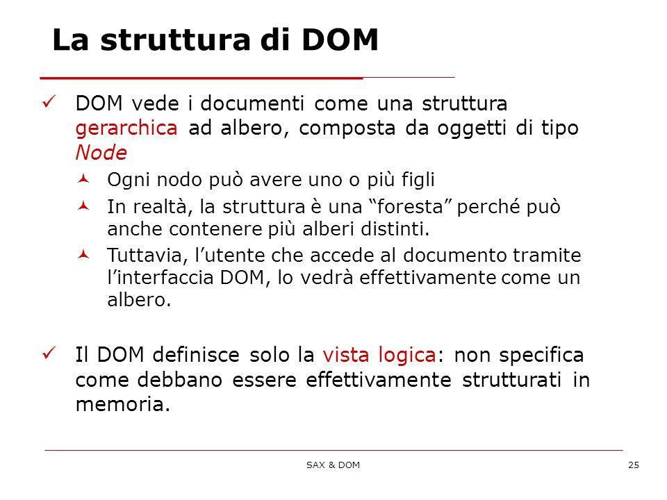 SAX & DOM25 DOM vede i documenti come una struttura gerarchica ad albero, composta da oggetti di tipo Node Ogni nodo può avere uno o più figli In realtà, la struttura è una foresta perché può anche contenere più alberi distinti.