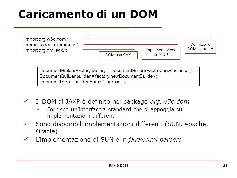 SAX & DOM28 import org.w3c.dom.*; import javax.xml.parsers.*; import org.xml.sax.*; DocumentBuilderFactory factory = DocumentBuilderFactory.newInstance(); DocumentBuilder builder = factory.newDocumentBuilder(); Document doc = builder.parse( libro.xml ); Definizione DOM standard Implementazione di JAXP DOM usa SAX Il DOM di JAXP è definito nel package org.w3c.dom Fornisce uninterfaccia standard che si appoggia su implementazioni differenti Sono disponibili implementazioni differenti (SUN, Apache, Oracle) Limplementazione di SUN è in javax.xml.parsers Caricamento di un DOM