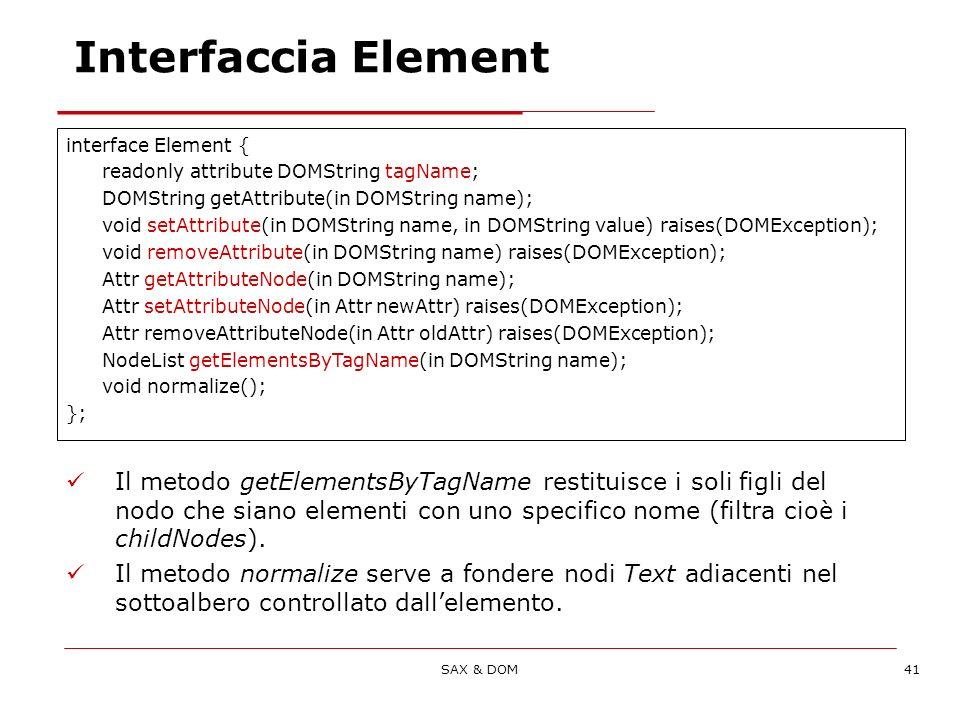 SAX & DOM41 Interfaccia Element Il metodo getElementsByTagName restituisce i soli figli del nodo che siano elementi con uno specifico nome (filtra cioè i childNodes).