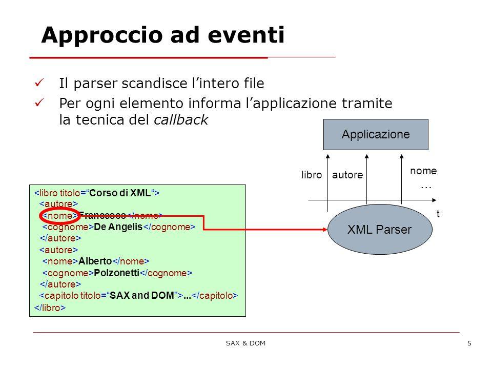 SAX & DOM16 public class SimpleSax { public static void main(String[] args) { SAXParserFactory factory = SAXParserFactory.newInstance(); factory.setValidating(true); SAXParser sxp; sxp = factory.newSAXParser(); DefaultHandler handler = new SimpleHandler(); sxp.parse(new File( xml/articolo.xml ).getAbsolutePath(),handler); } Il client utilizza la classe di Factory per recuperare il parser Al parser viene chiesto di parsare il file come un processo autonomo Utilizzo dellhandler SAX