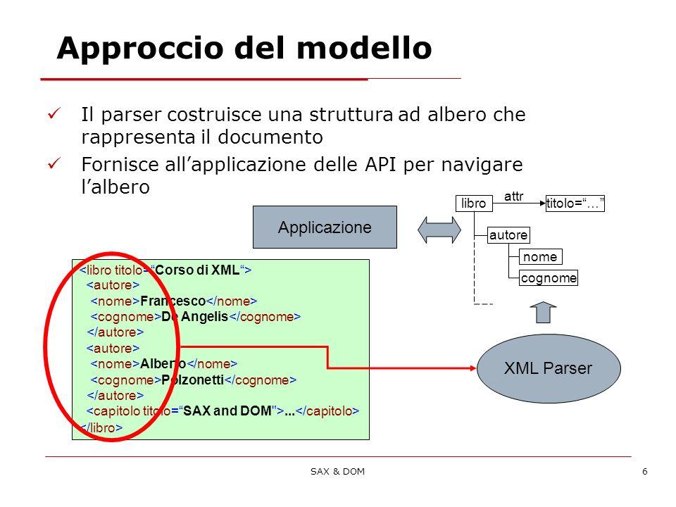 SAX & DOM6 Approccio del modello Il parser costruisce una struttura ad albero che rappresenta il documento Fornisce allapplicazione delle API per navigare lalbero Francesco De Angelis Alberto Polzonetti...