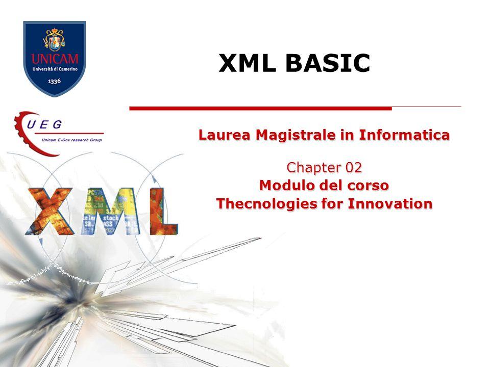 XML Basic 32 SCHEMI Sistema per la catalogazione delle specie a rischio di estinzione EndML Elementi Animale Sottospecie Popolazione minacce 1.Non si scrivono documenti in XML applicazioni XML 2.Si usa XML per creare specifici linguaggi di marcatura personalizzati (applicazioni XML) 3.Si scrivono i documenti in quei linguaggi 1.Non si scrivono documenti in XML applicazioni XML 2.Si usa XML per creare specifici linguaggi di marcatura personalizzati (applicazioni XML) 3.Si scrivono i documenti in quei linguaggi conforme Lo specifico linguaggio si definisce specificando quali elementi ed attributi sono ammessi o necessari in un documento conforme Insieme di regole Schema del documento