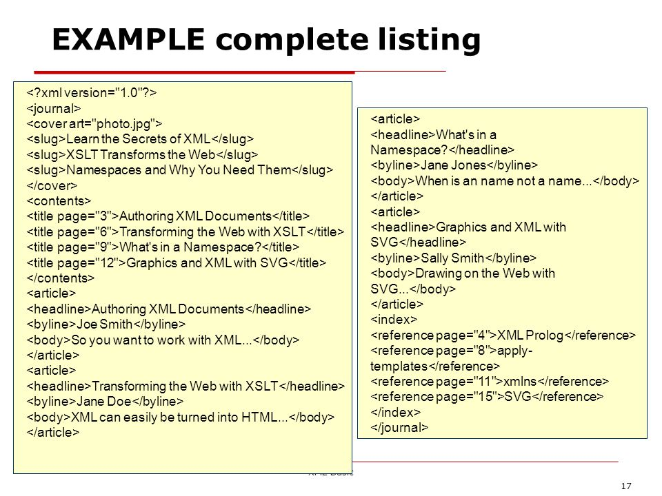 XML Basic 17 EXAMPLE complete listing Learn the Secrets of XML XSLT Transforms the Web Namespaces and Why You Need Them Authoring XML Documents Transf