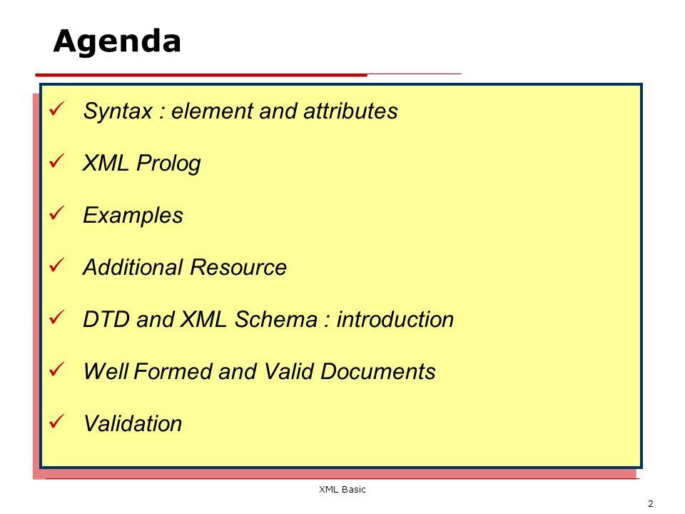 XML Basic 3 Sintassi di un documento XML (I) Un documento XML è un file di testo che contiene una serie di tag, attributi e testo secondo regole sintattiche ben definite Un documento XML è intrinsecamente caratterizzato da una struttura gerarchica Esso è composto da componenti denominati elementi Ciascun elemento rappresenta un componente logico del documento e può contenere altri elementi (sottoelementi) o del testo