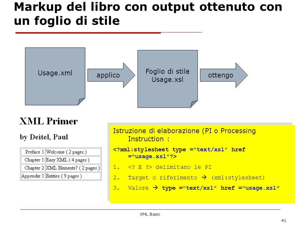 XML Basic 41 Markup del libro con output ottenuto con un foglio di stile Usage.xml applico Foglio di stile Usage.xsl ottengo Istruzione di elaborazion