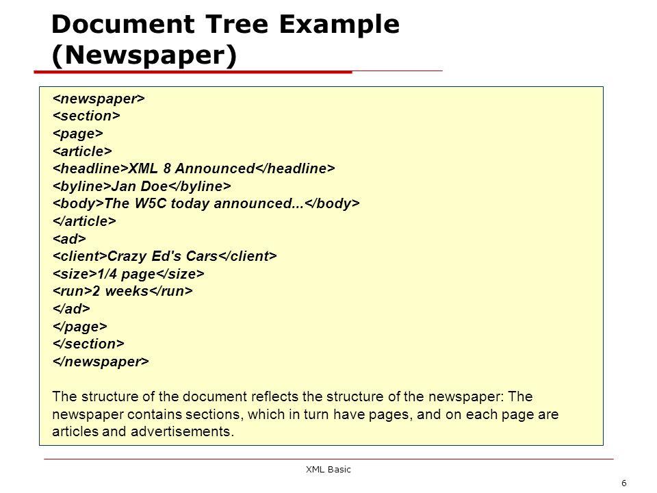 XML Basic 37 Parser validanti e non validanti Il cuore di un applicazione XML è il parser, ovvero quel modulo che legge il documento XML e ne crea una rappresentazione interna utile per successive elaborazioni (come la visualizzazione) Un parser validante, in presenza di un DTD, è in grado di verificare la validità del documento, o di segnalare gli errori di markup presenti Un parser non validante invece, anche in presenza di un DTD è solo in grado di verificare la buona forma sintattica del documento Un parser non validante è molto più semplice e veloce da scrivere, ma è in grado di fare meno controlli.