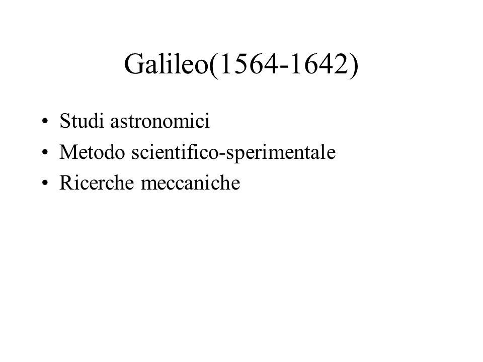 Galileo(1564-1642) Studi astronomici Metodo scientifico-sperimentale Ricerche meccaniche