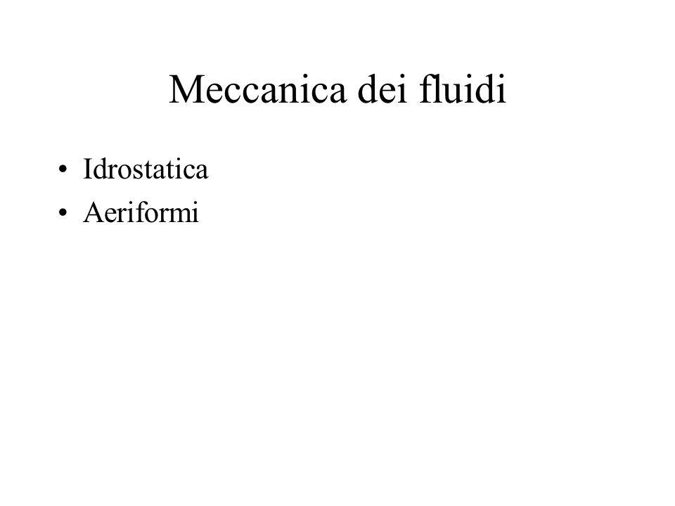 Meccanica dei fluidi Idrostatica Aeriformi