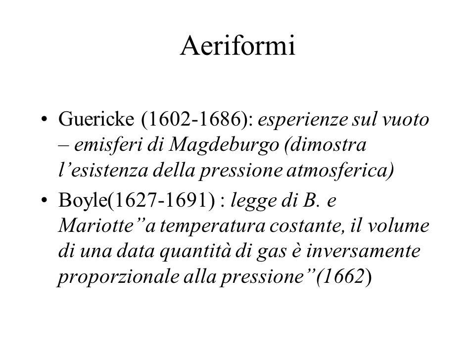 Aeriformi Guericke (1602-1686): esperienze sul vuoto – emisferi di Magdeburgo (dimostra lesistenza della pressione atmosferica) Boyle(1627-1691) : leg