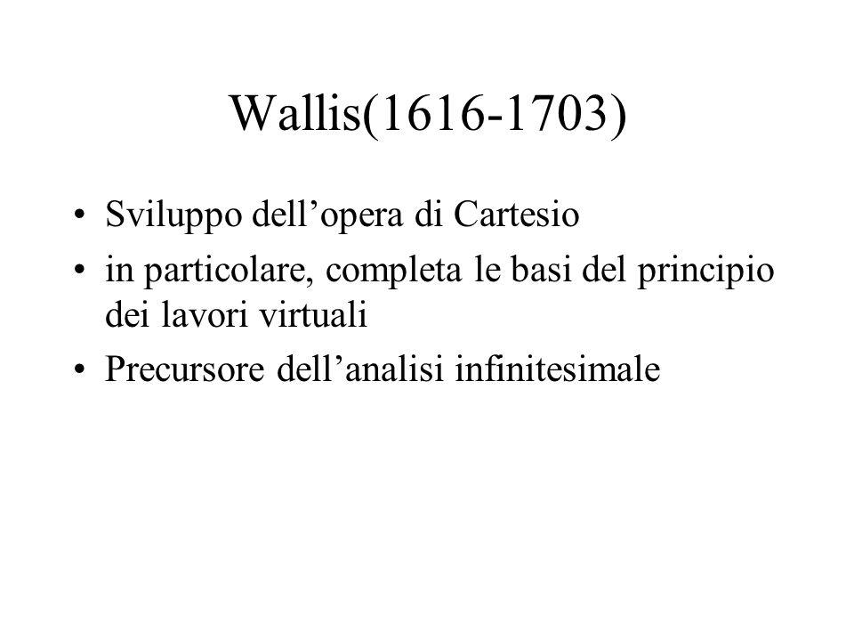 Wallis(1616-1703) Sviluppo dellopera di Cartesio in particolare, completa le basi del principio dei lavori virtuali Precursore dellanalisi infinitesim