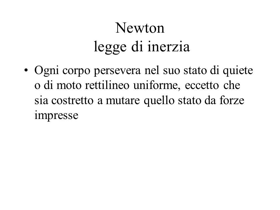 Newton legge di inerzia Ogni corpo persevera nel suo stato di quiete o di moto rettilineo uniforme, eccetto che sia costretto a mutare quello stato da