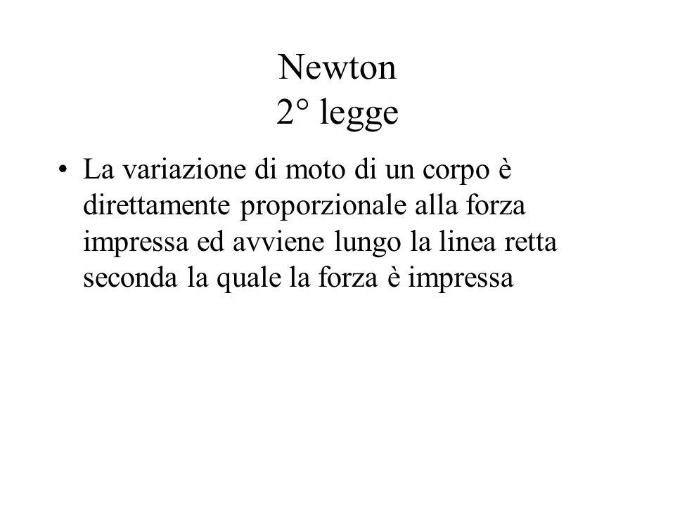 Newton 2° legge La variazione di moto di un corpo è direttamente proporzionale alla forza impressa ed avviene lungo la linea retta seconda la quale la