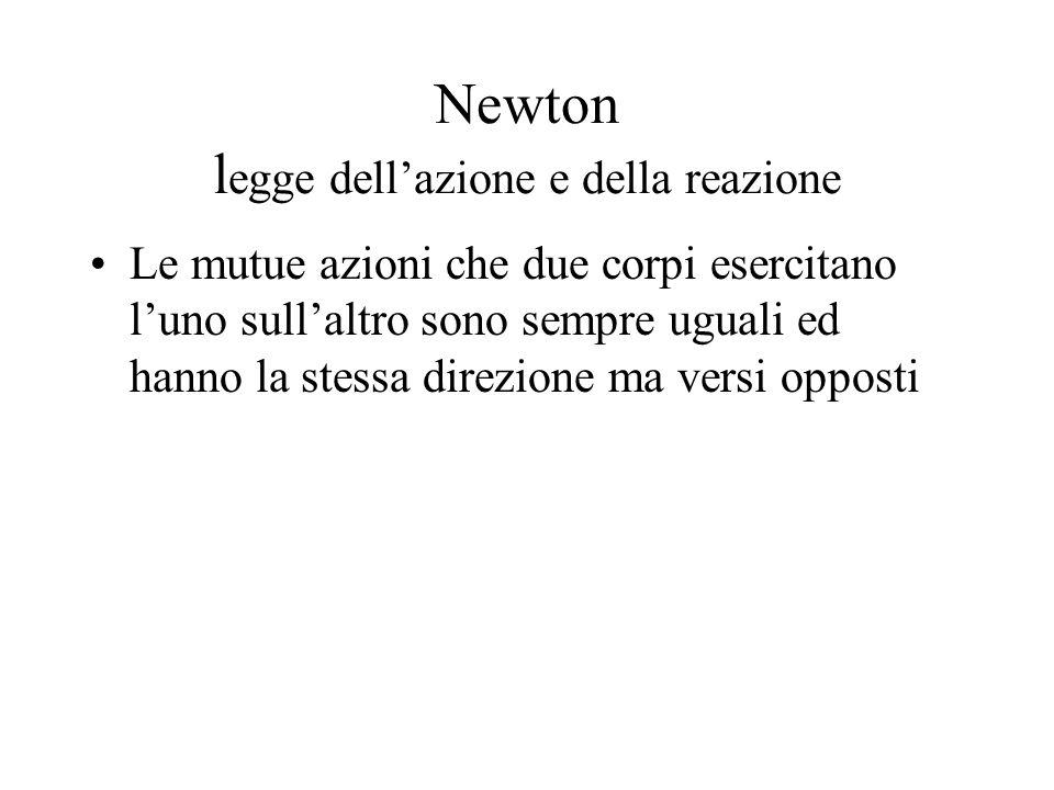 Newton l egge dellazione e della reazione Le mutue azioni che due corpi esercitano luno sullaltro sono sempre uguali ed hanno la stessa direzione ma v