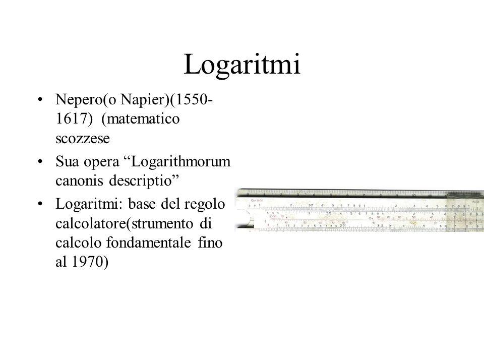 Logaritmi Nepero(o Napier)(1550- 1617) (matematico scozzese Sua opera Logarithmorum canonis descriptio Logaritmi: base del regolo calcolatore(strument