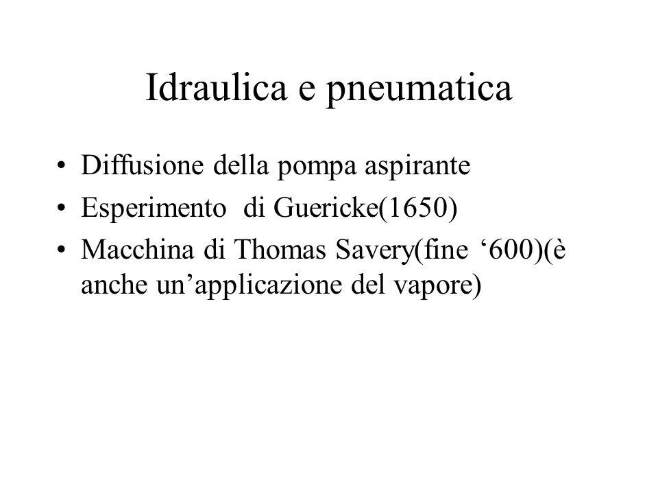 Idraulica e pneumatica Diffusione della pompa aspirante Esperimento di Guericke(1650) Macchina di Thomas Savery(fine 600)(è anche unapplicazione del v