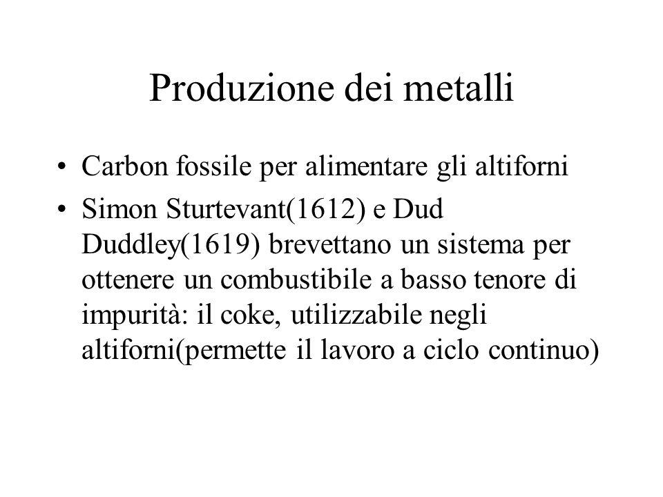 Produzione dei metalli Carbon fossile per alimentare gli altiforni Simon Sturtevant(1612) e Dud Duddley(1619) brevettano un sistema per ottenere un co