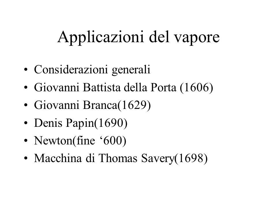 Applicazioni del vapore Considerazioni generali Giovanni Battista della Porta (1606) Giovanni Branca(1629) Denis Papin(1690) Newton(fine 600) Macchina