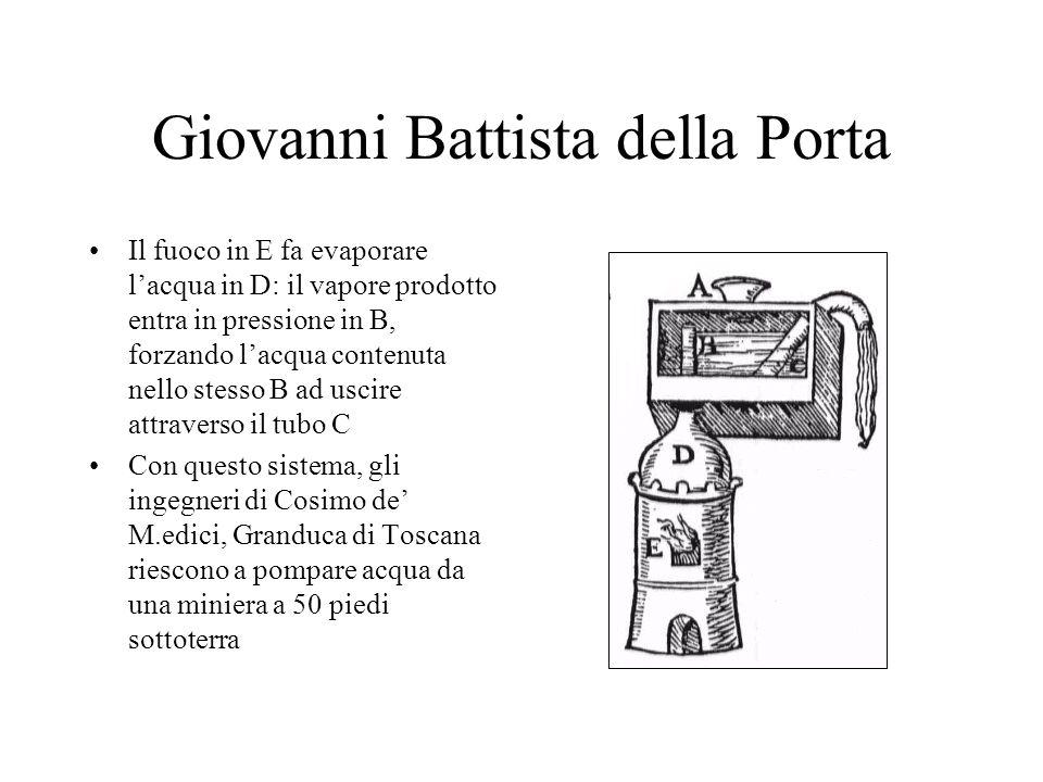 Giovanni Battista della Porta Il fuoco in E fa evaporare lacqua in D: il vapore prodotto entra in pressione in B, forzando lacqua contenuta nello stes