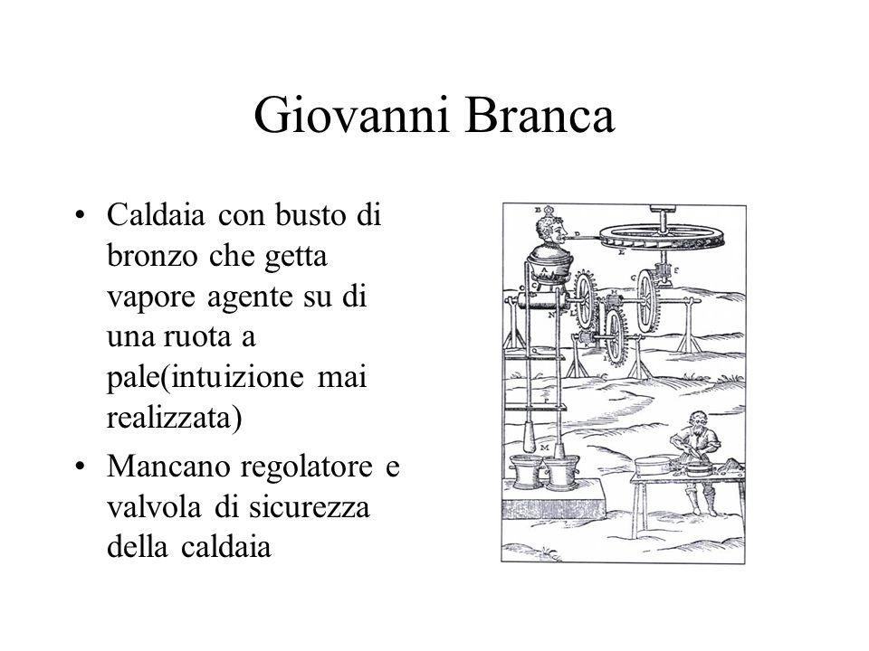 Giovanni Branca Caldaia con busto di bronzo che getta vapore agente su di una ruota a pale(intuizione mai realizzata) Mancano regolatore e valvola di