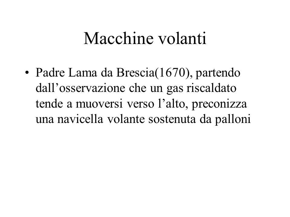 Macchine volanti Padre Lama da Brescia(1670), partendo dallosservazione che un gas riscaldato tende a muoversi verso lalto, preconizza una navicella v