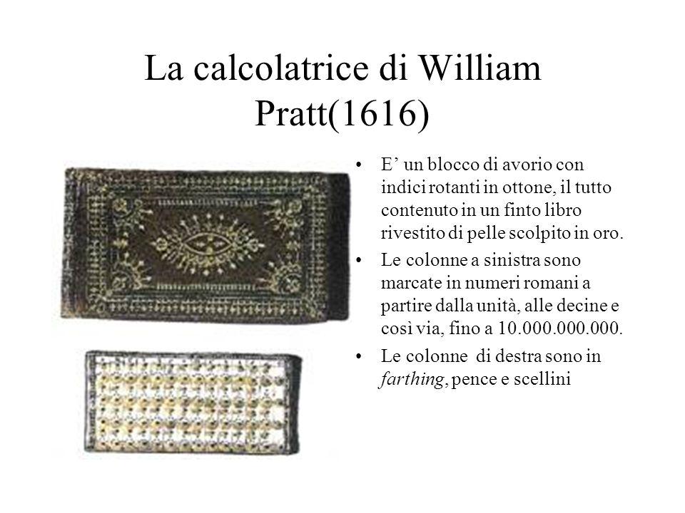 La calcolatrice di William Pratt(1616) E un blocco di avorio con indici rotanti in ottone, il tutto contenuto in un finto libro rivestito di pelle sco