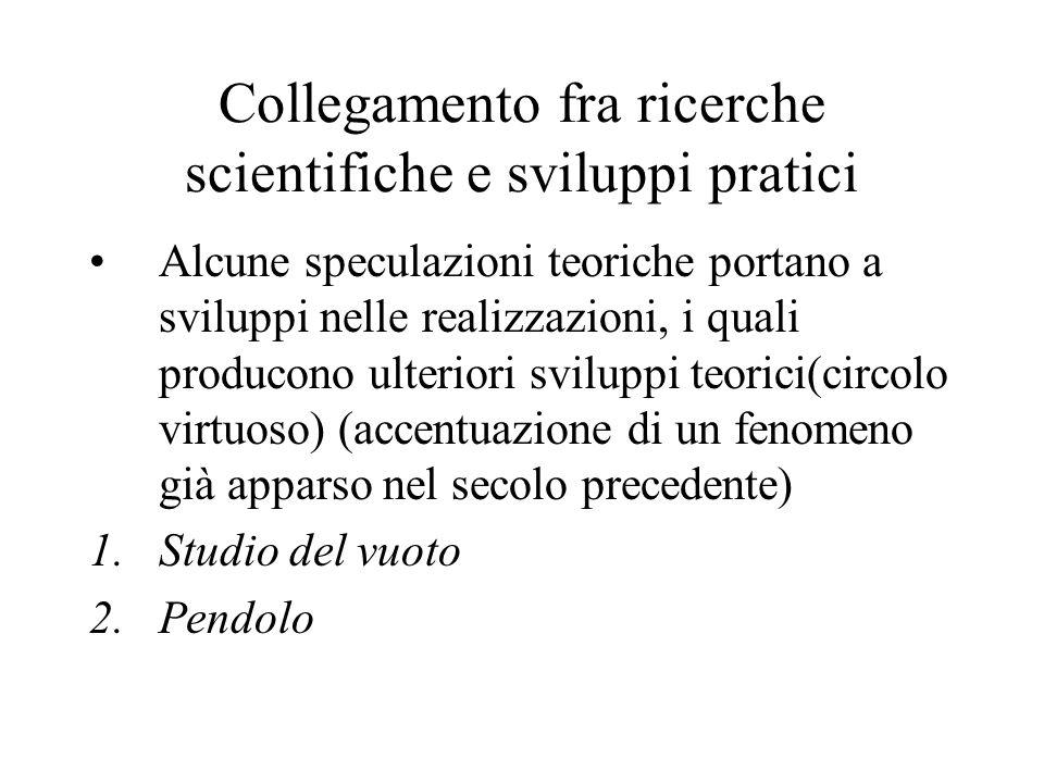Collegamento fra ricerche scientifiche e sviluppi pratici: studio del vuoto Per opera di Torricelli, Galileo, Pascal Diffusione della pompa aspirante I risultati portano allo studio della macchina a vapore