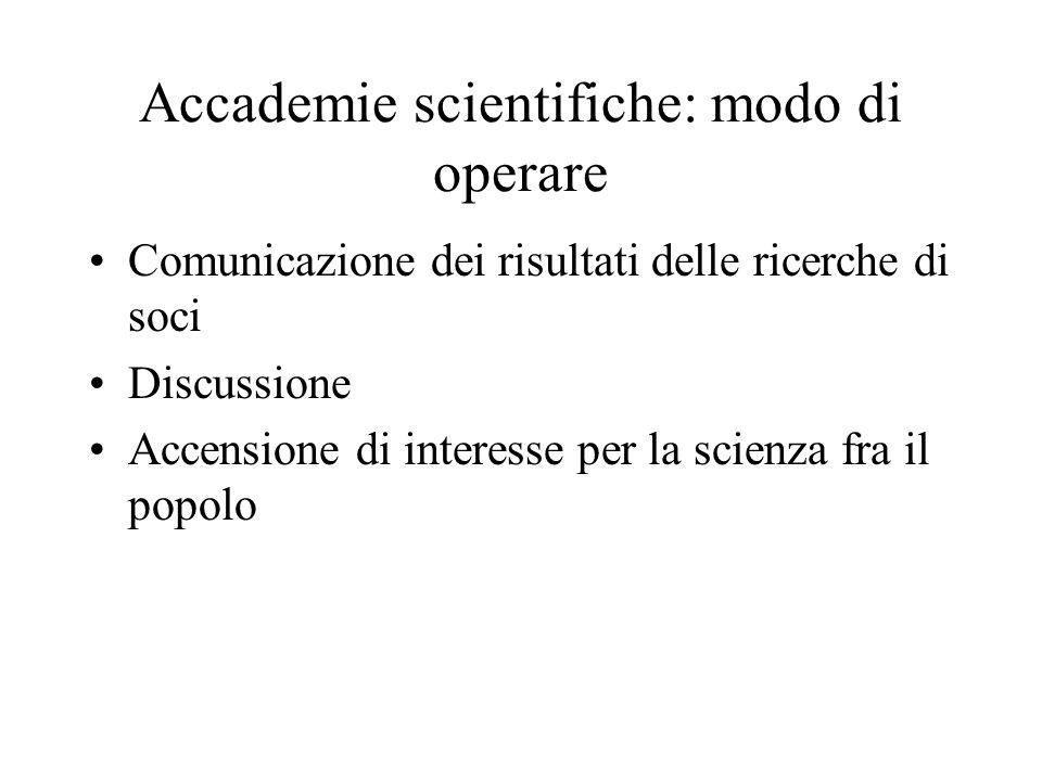 Accademie scientifiche: modo di operare Comunicazione dei risultati delle ricerche di soci Discussione Accensione di interesse per la scienza fra il p