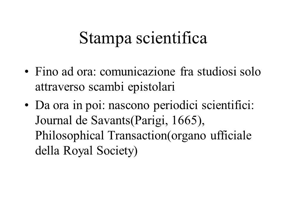 Stampa scientifica Fino ad ora: comunicazione fra studiosi solo attraverso scambi epistolari Da ora in poi: nascono periodici scientifici: Journal de