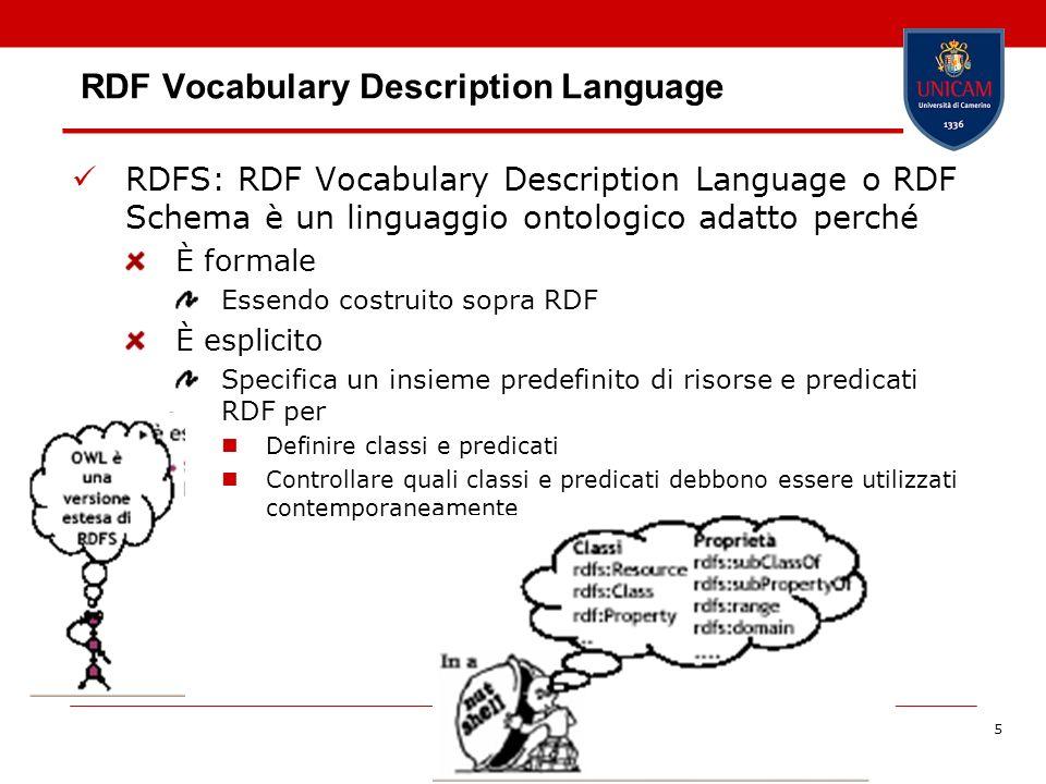 Barbara Re5 RDF Vocabulary Description Language RDFS: RDF Vocabulary Description Language o RDF Schema è un linguaggio ontologico adatto perché È form
