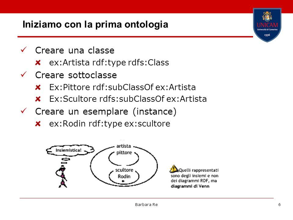 Barbara Re6 Iniziamo con la prima ontologia Creare una classe ex:Artista rdf:type rdfs:Class Creare sottoclasse Ex:Pittore rdf:subClassOf ex:Artista E