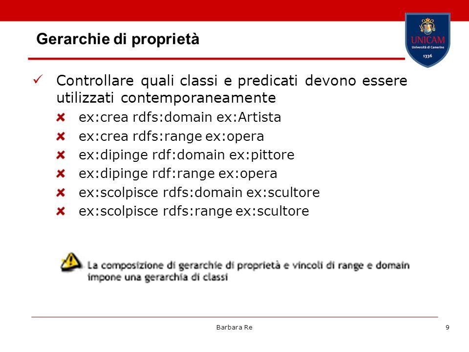 Barbara Re9 Gerarchie di proprietà Controllare quali classi e predicati devono essere utilizzati contemporaneamente ex:crea rdfs:domain ex:Artista ex: