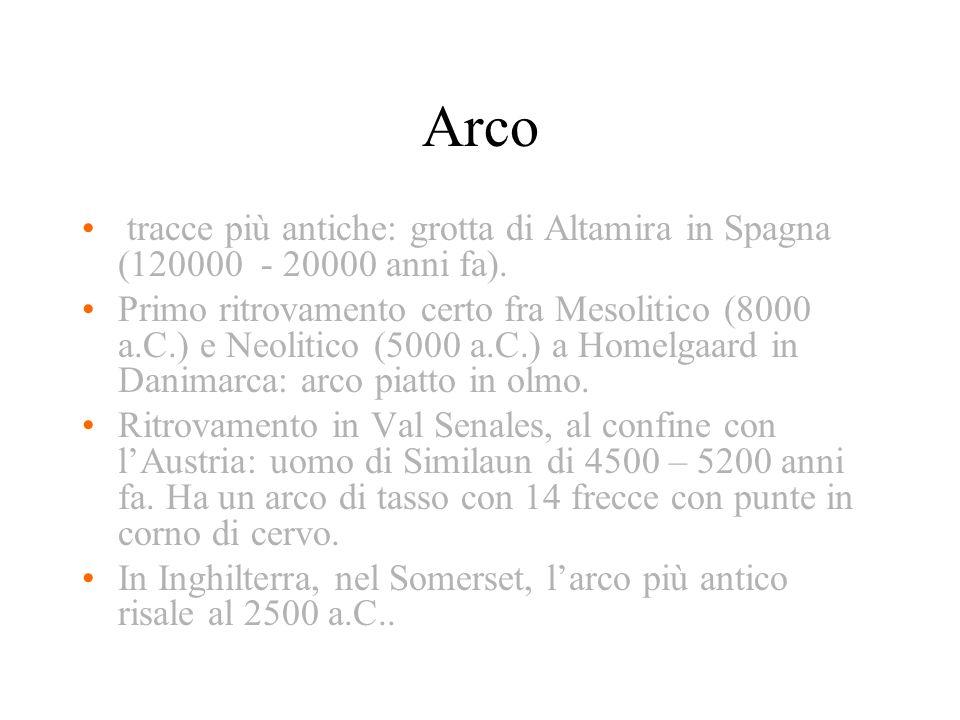 Arco tracce più antiche: grotta di Altamira in Spagna (120000 - 20000 anni fa). Primo ritrovamento certo fra Mesolitico (8000 a.C.) e Neolitico (5000