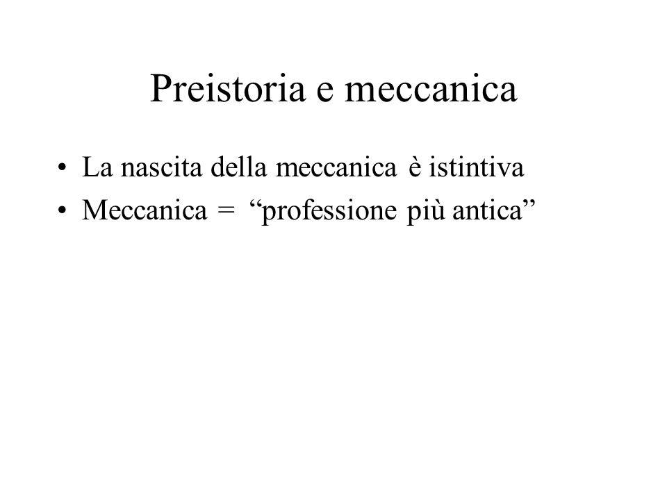 Preistoria e meccanica La nascita della meccanica è istintiva Meccanica = professione più antica