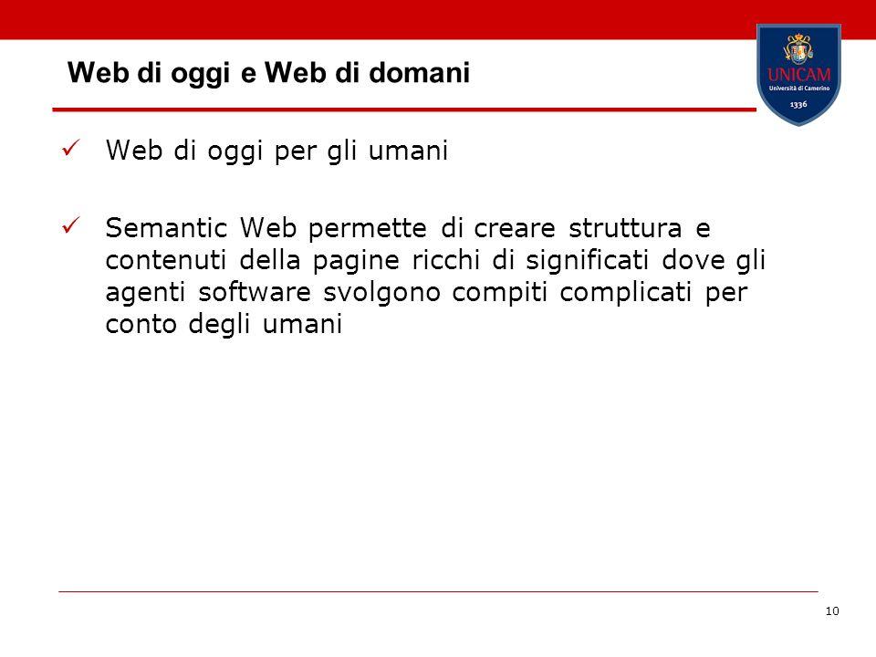 10 Web di oggi e Web di domani Web di oggi per gli umani Semantic Web permette di creare struttura e contenuti della pagine ricchi di significati dove
