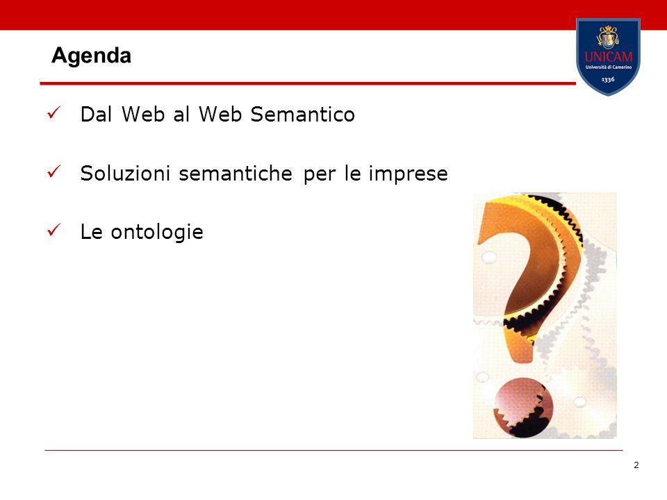 2 Agenda Dal Web al Web Semantico Soluzioni semantiche per le imprese Le ontologie