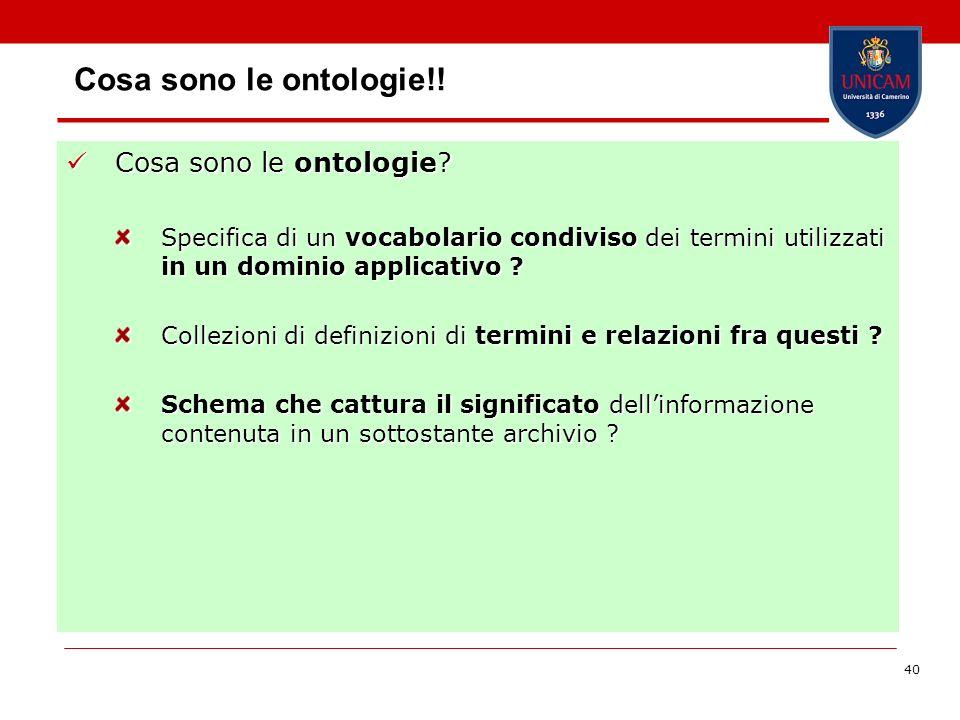 40 Cosa sono le ontologie!! Cosa sono le ontologie? Cosa sono le ontologie? Specifica di un vocabolario condiviso dei termini utilizzati in un dominio