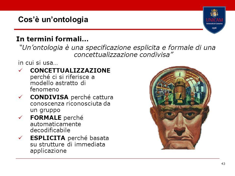 43 Cosè unontologia In termini formali… Unontologia è una specificazione esplicita e formale di una concettualizzazione condivisa in cui si usa… CONCE