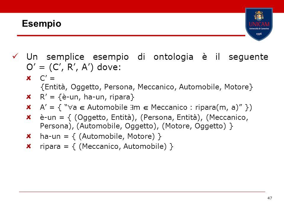 47 Esempio Un semplice esempio di ontologia è il seguente O = (C, R, A) dove: C = {Entità, Oggetto, Persona, Meccanico, Automobile, Motore} R = {è-un,