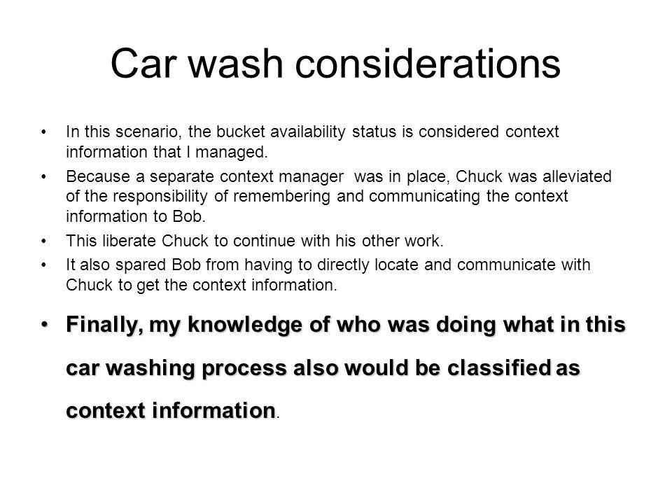 Car wash steps chuck bob jim I II III bob II chuck jim III Locate bucket.