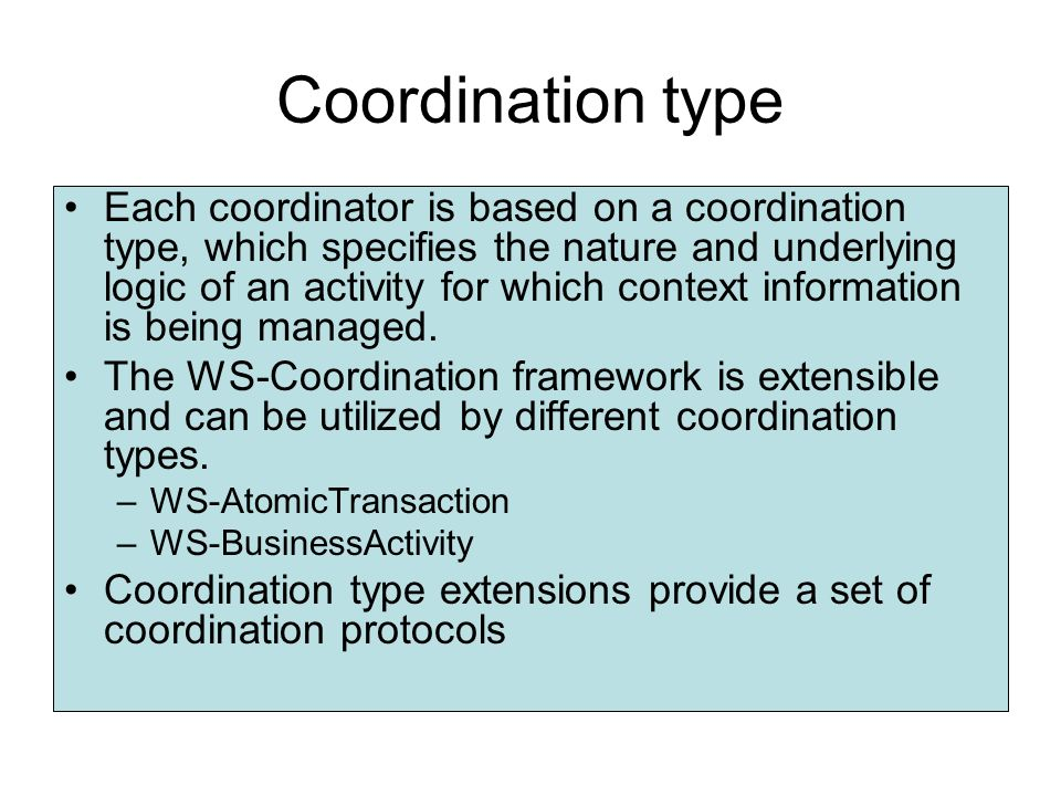 Services of Coordinator Composition Activation serviceActivation service –Responsible for the creation of a new context and for associating this conte