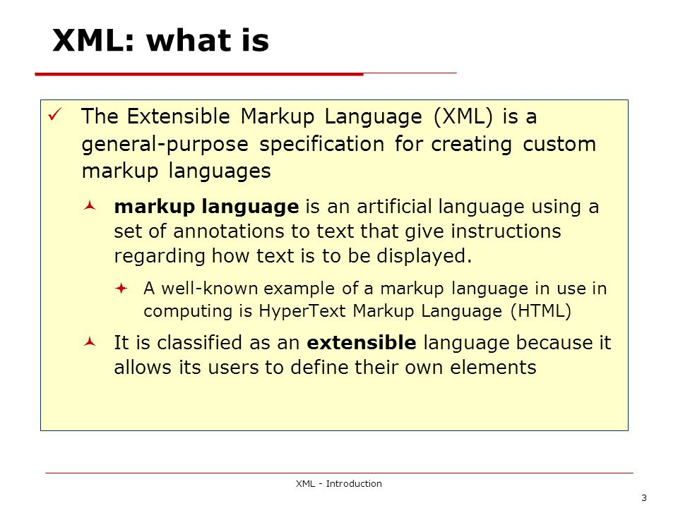 XML - Introduction 54 Essential elements of EDI the use of an electronic transmission medium (originally a value-added network, but increasingly the open, public Internet) rather than the despatch of physical storage media such as magnetic tapes and disks; the use of structured, formatted messages based on agreed standards (such that messages can be translated, interpreted and checked for compliance with an explicit set of rules); relatively fast delivery of electronic documents from sender to receiver (generally implying receipt within hours, or even minutes); and direct communication between applications (rather than merely between computers).