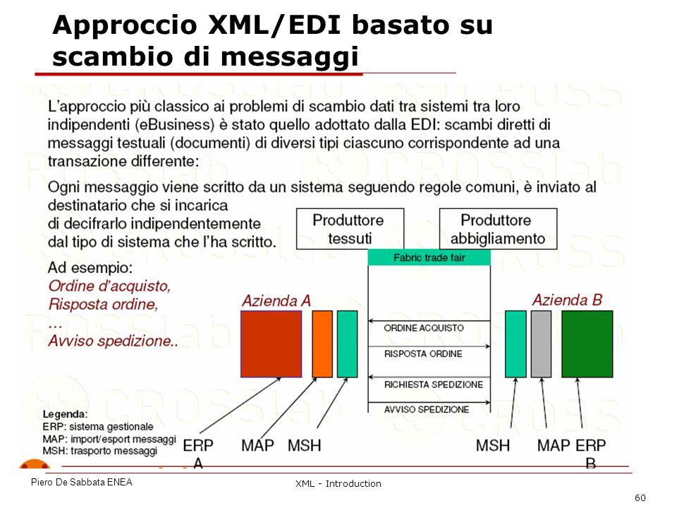 XML - Introduction 60 Approccio XML/EDI basato su scambio di messaggi Piero De Sabbata ENEA